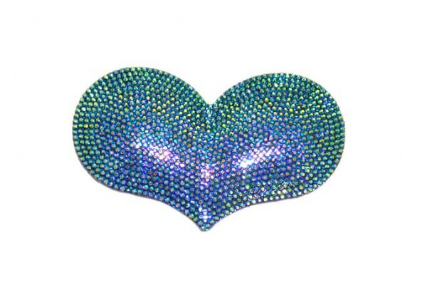 1piece x 85mm*55mm*5mm  Acrylic bling heart flat back metallic blue colour -- heart drop shape -- 5000021